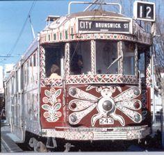 Melbourne tram, with makeover by artist Mirka Mora.