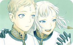 """Dio Eraclea (right) and his servant Lucciola (left) From Last Exile. A male Flapper? What better inspiration could I get for a Non Gender Binary hair look? I'll be forever grateful to Renji """"Range"""" Murata for coming up with the character. Range Murata, Bokura Ga Ita, Last Exile, Manga Mania, Japanese Characters, Boy Pictures, Fan Art, Manga Illustration, Perfect Skin"""