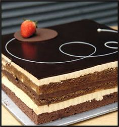 the opera cake for my russian themed birthday party (fabulous Fancy Desserts, Just Desserts, Delicious Desserts, Sweet Recipes, Cake Recipes, Dessert Recipes, Mini Cakes, Cupcake Cakes, Cupcakes