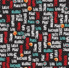 Love, Hope, and Pray Words on Black from Quilting Treasures