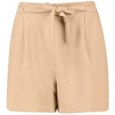 Boohoo Amber Longer Length Tie Belt Pleated Shorts | Boohoo ($14) ❤ liked on Polyvore featuring shorts, tie belt, self tie belt, embellished shorts, cropped shorts and mid length shorts