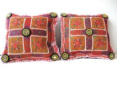 Pair Tribal Pillows  Recycled Vintage Hand by oldsilkroute on Etsy