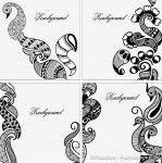 Henna designs backgrounds vector set