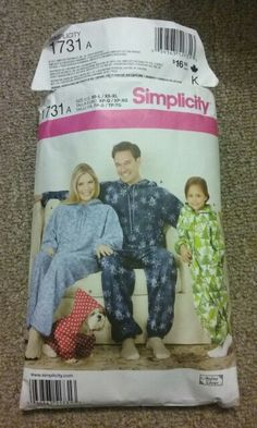 Lynn: simplicity 1731a onsie blanket sleepers adult and child sizes. purchased summer 2015