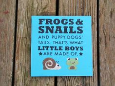frogs and snail and puppy dog tails-boy nursery rhythm sign