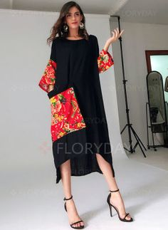 Arabian General Black Day Dresses Chinese Casual Rayon Round Neckline Shift Dress Spring XS Summer Pockets S Color Block High Low M L Sleeves XL Dress Shift Dresses, Day Dresses, Casual Dresses, Fashion Dresses, Trendy Dresses, Dresses Online, Floryday Vestidos, Linen Dresses, Cotton Dresses
