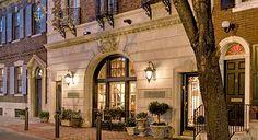 Rittenhouse 1715 in Philadelphia, PA. The hotel, located in a brownstone, offers complimentary wine each evening.