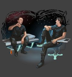 Scotty and McCoy chatting in medbay fanart by irvinis
