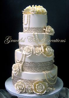 Elegant Ivory Butter Cream Wedding Cake with Lacy Champagn… | Flickr