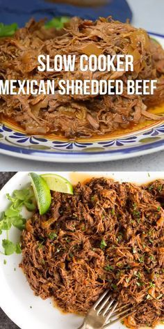 This all purpose Slow Cooker Mexican Shredded Beef is great for tacos burritos and more Quick and easy prep work and the crock pot does the rest crock pot recipe Slow Co. Crock Pot Recipes, Crock Pot Cooking, Cooking Recipes, Healthy Recipes, Healthy Meals, Slow Cook Beef Recipes, Beef Chuck Recipes, Taco Bar Recipes, Healthy Crock Pot Meals