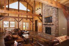Living Area inside a beautiful Cabin on the Lake   Sand Creek Post & Beam  https://www.facebook.com/SandCreekPostandBeam