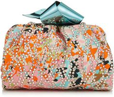 Shop Now - >  https://api.shopstyle.com/action/apiVisitRetailer?id=606117617&pid=uid6996-25233114-59 CARA/S Orange and Camellia Flower Print Satin Clutch Bag with Crystal Embroidery  ...