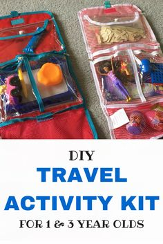 Easy & cheap DIY travel activity kits for 1 & 3 year olds. Keep them entertained during your travel down time.