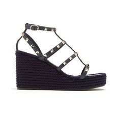 Valentino Torchon Rockstud leather wedge sandals (£565) ❤ liked on Polyvore featuring shoes, sandals, navy, strappy sandals, strappy wedge sandals, strap sandals, t strap wedge sandals and platform wedge sandals