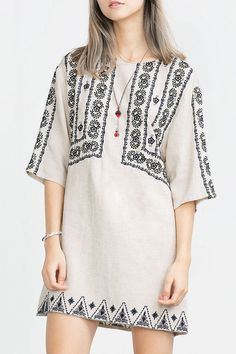 Boho Chic Half Sleeve Embroidered Straight Dress