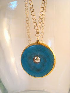"""Turquoise Donut Disc on Gold Filled Chain-30"""""""