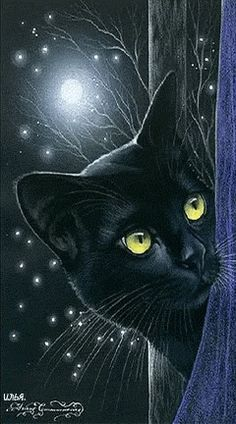 Black Cat Art - 'Inspired by cats' - Russian artist Irina Garmashova (Garmashova-Cawton) - Colors: Black and Blue, touch of yellow Crazy Cat Lady, Crazy Cats, Gatos Cool, Image Chat, Photo Chat, All About Cats, Cat Drawing, Beautiful Cats, Pretty Cats