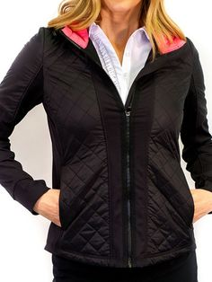 If you're in the market for some new outfits, consider our women's apparel! Shop this comfortable and stylish Black/Hot Pink Golftini Ladies Hooded Windbreaker Golf Jacket from Lori's Golf Shoppe.