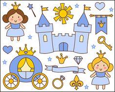 Cute Little Princess Clip Art, Blue Princess Clipart, Castle, Crown - Instant Download