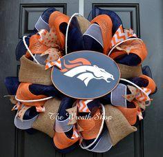 Denver Broncos Burlap Deco Mesh Wreath by CreationsbySaraJane, $85.00