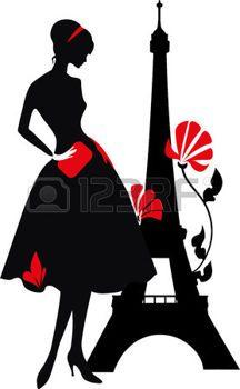 R�tro rouge de la femme et la silhouette noire avec Tour Eiffel photo
