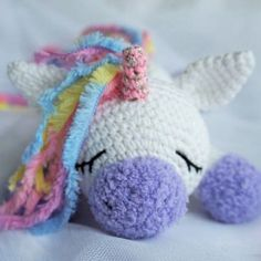 Use this Sleeping Unicorn Pony Crochet Pattern to create a wonderful plush toy for your baby. The crochet pattern is FREE!