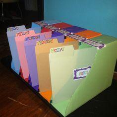 Diy classroom daily organizer: magazine boxes from ikea, paint, matching fi 3rd Grade Classroom, Classroom Setup, Classroom Design, Kindergarten Classroom, Future Classroom, High School Organization, Classroom Organisation, Binder Organization, Classroom Management