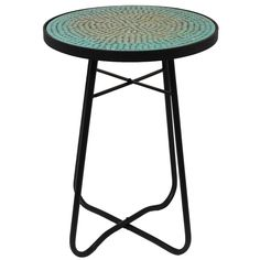 Enterprises Turquoise Mosaic Round Patio Side Accent Table