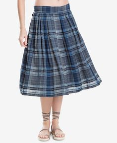 Max Studio London Cotton Plaid Midi Skirt, Created for Macy's