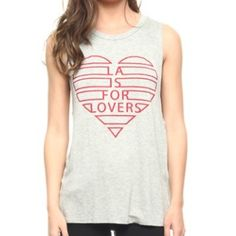 """LA Is For Lovers"" Grey Heart Graphic Muscle Tank    Dreaming of Los Angeles? Me too!!! --- Made in USA---Relaxed Fit---Runs true to size---Knit Fabric---96% Rayon 4% Spandex--- Muscle tee cut---Light Heather grey color---Red Screen Print--- Thank you for visiting my closet❤️ Price is firm unless bundled  Boutique Tops Tank Tops"