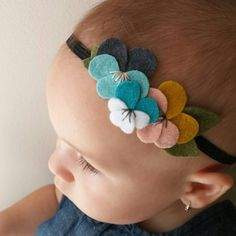 Pansy felt flowers headband in charcoal, turquoise, aqua, white, gold, and pink…