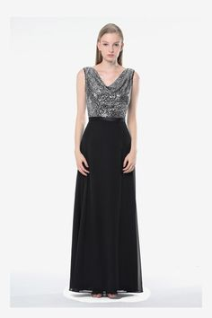 Cassandra bridesmaid gown by David Tutera for Gather & Gown. Black and silver sequin bridesmaid gown. Chrome bridesmaid gown.