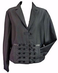 NEW Black military nautical steampunk circus ringmaster  blazer jacket-12 14 nwt