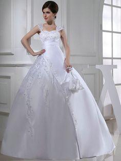 $353.69 Impressive Ball Gown Satin Straps Beading Wedding Dresses #Cheap #wedding #dresses #  https://www.facebook.com/ExclusiveWeddingNetworkBlog