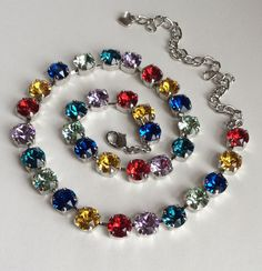 Swarovski Crystal Necklace  -  Rainbow Colors -  Happy & Bright Multi- Colors for Spring/ Summer