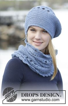 "#Crochet beret and neck warmer with lace pattern in ""Lima"". Pattern by #DROPSDesign"