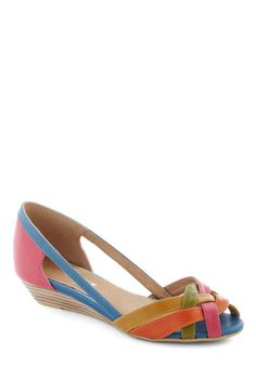 Gal About Town Wedge in Brights by Chelsea Crew - Multi, Solid, Cutout, Woven, Wedge, Peep Toe, Low, Leather, Casual, Daytime Party, Beach/Resort, Summer, Faux Leather, Variation