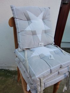 4 er Set Shabby Chic Hocker Sitzkissen Kissen Stuhlkissen Grau Beige Stern in Möbel & Wohnen, Dekoration, Dekokissen | eBay