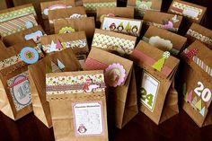Advent Calendar bags from Lisa Vanderveen (via Jillibean Soup).  Crafts for each day...