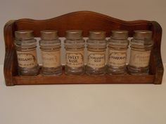 Vintage Wooden Spice Rack and Spice by sistersfuntreasures on Etsy, $29.99