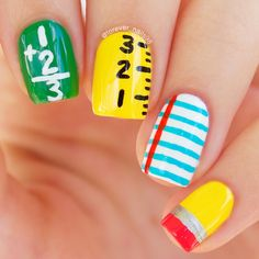 Instead of the same manicure and polish, try some clever back to school nail art designs that will give you an A+ in style! School Nail Art, Back To School Nails, Kids Manicure, Manicure Ideas, Teacher Nails, August Nails, Kawaii Nail Art, Nail Art For Kids, Girls Nails