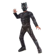 Kids Captain America: Civil War Black Panther Deluxe Muscle Chest Costume, Boy's, Size: Medium