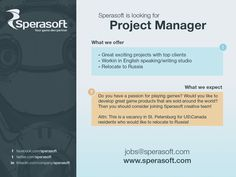 Looking US/Canada based project manager to relocate to Russia! Cool opportunity! Apply online! http://www.sperasoft.com/career/project-manager