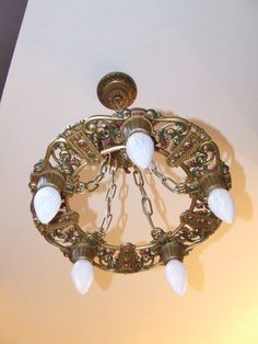 Antique Vintage 1920s Riddle Lighting Co Art Deco Art Nouveau Polychrome Chandelier Ceiling Light Fixture Restored Rewired