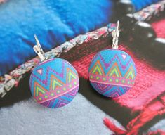 Fabric button earrings aztec earrings hoops silver by RetroNaNa, $8.50