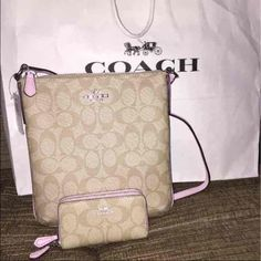 NWT Coach Set ✨  FINAL PRICE  SALE TODAY ONLY  Brand NWT. Includes Light Pink / Tan Crossbody and Coin/ Card wallet. Next day shipping Coach Bags Crossbody Bags