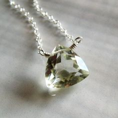 Prasiolite and silver necklace