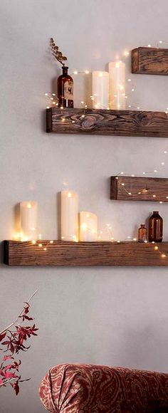 Rustic wooden shelf, Boho home decor idea #affiliate #living #room #bedroom #kitchen #decoration #ideas
