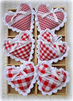 Little checked hearts with crocheted lace edges.