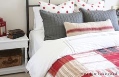 Guest room mix and match bedding   www.meadowlakeroad.com